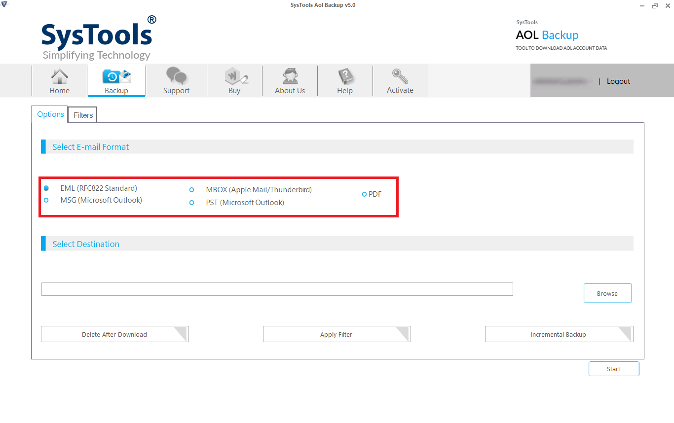select format to backup aol emails