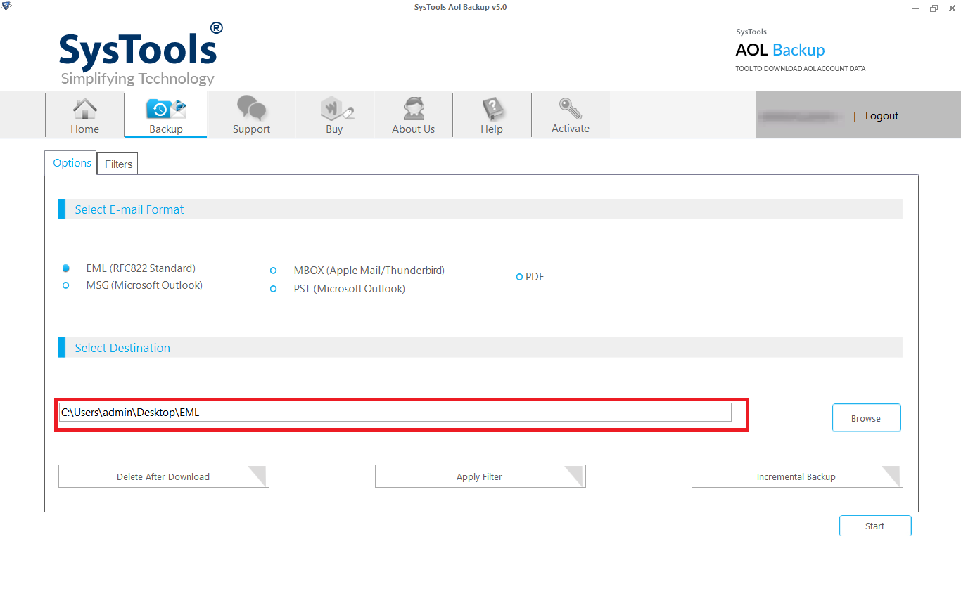export aol mailbox to local drive