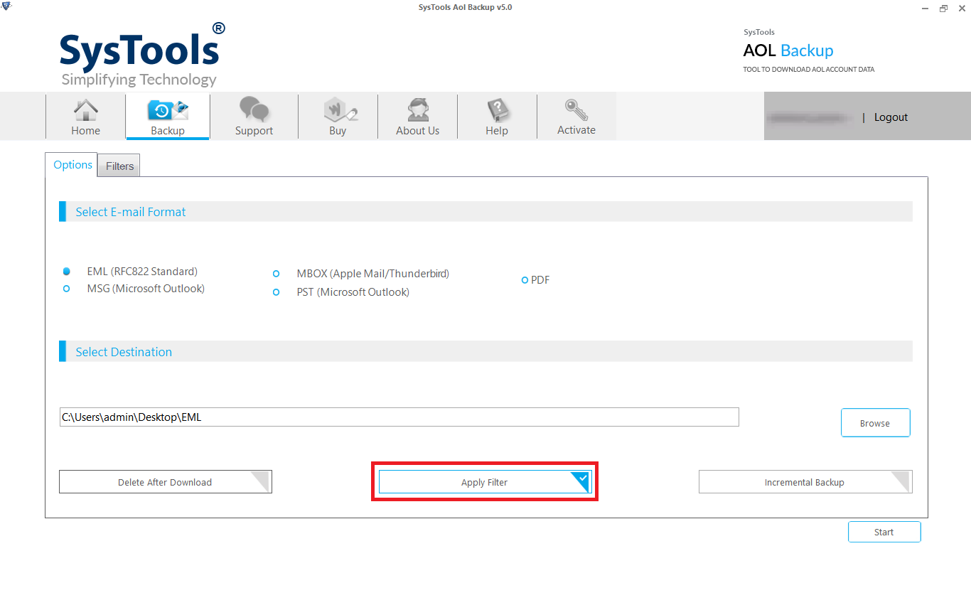 export aol mailbox with filters