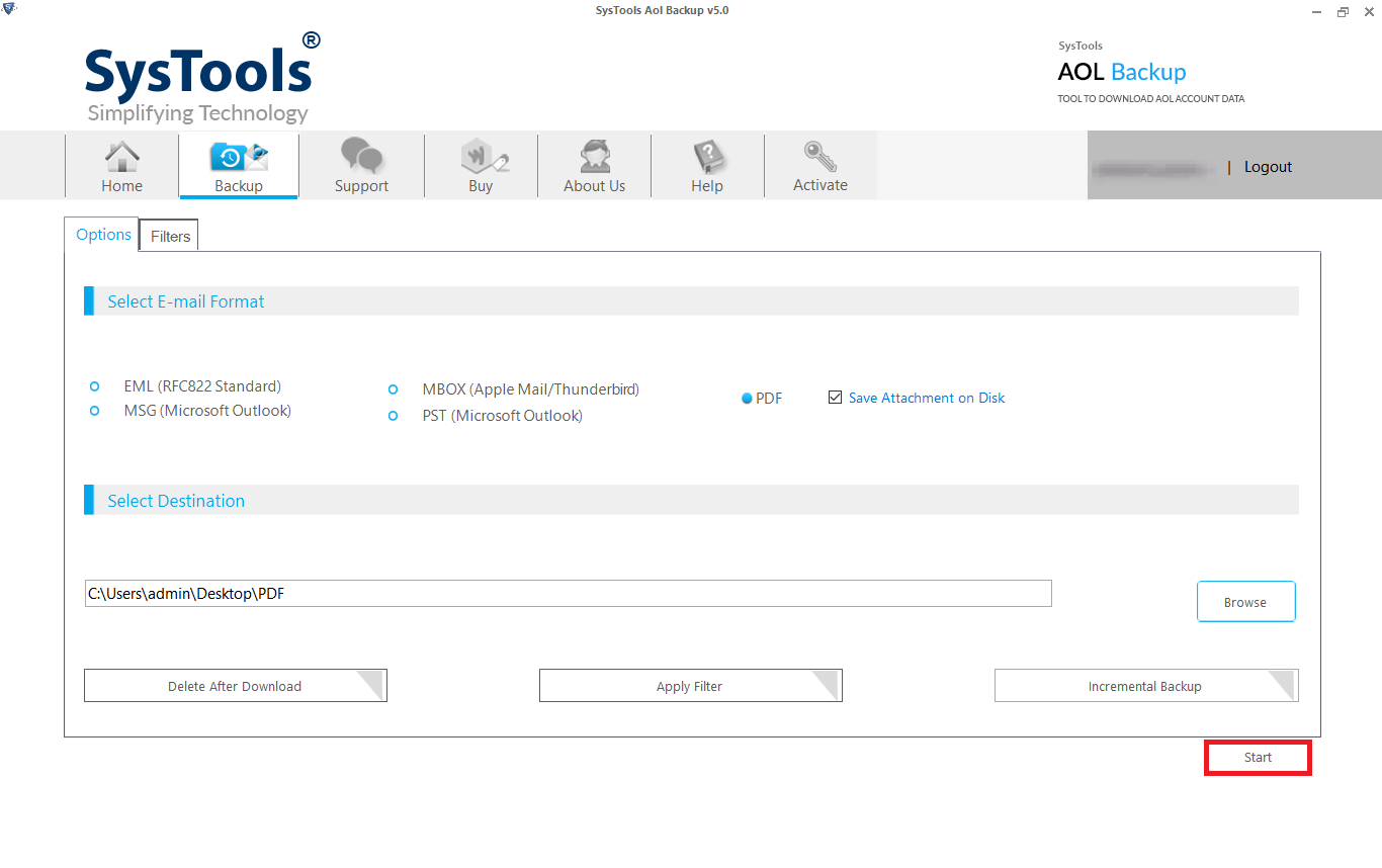 start process to convert aol email to pdf