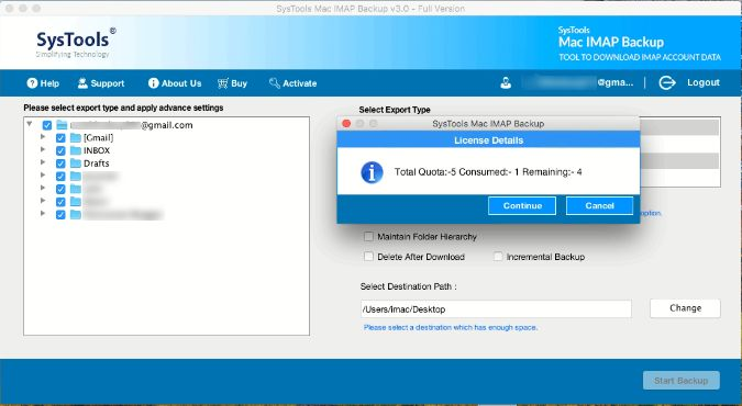 backup imap email in outlook
