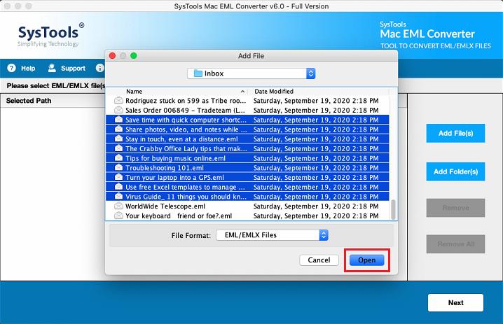 Add EML / EMLX Folder Mac
