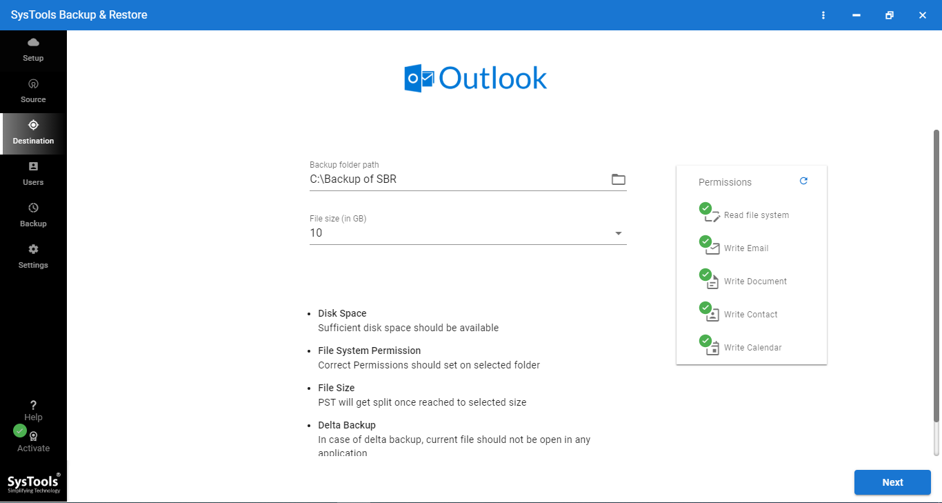 Browse Location for Backup of office365 data