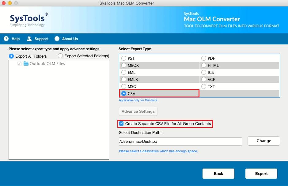 Quickly Export OLM to Files CSV