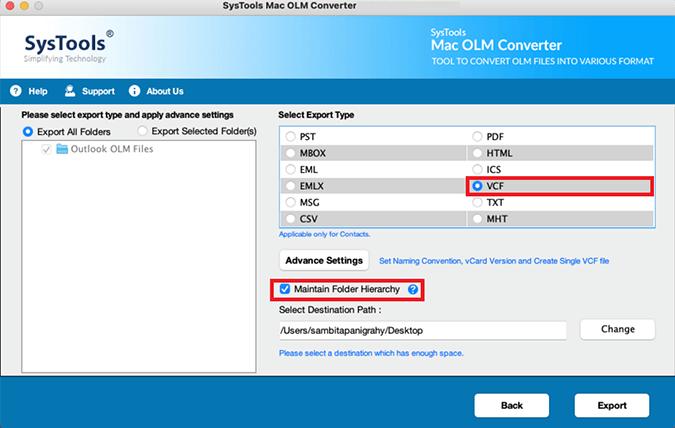 Mac OLM converter VCF