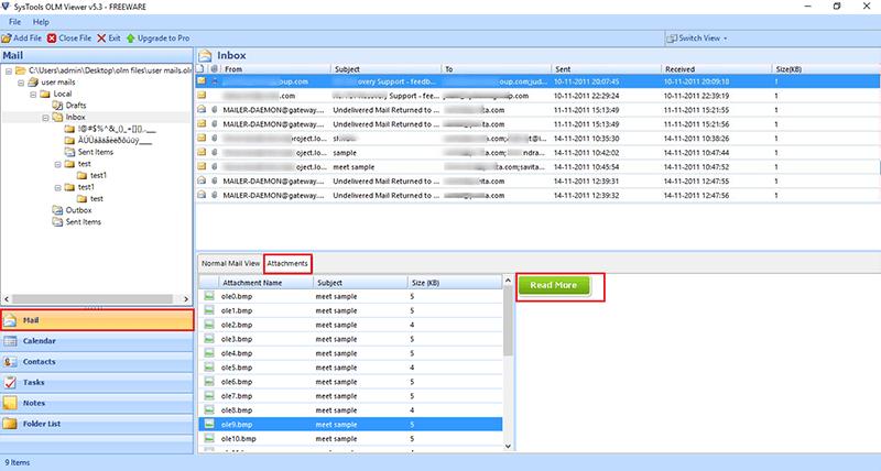 Open OLM File Attachments