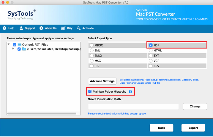 select pdf to convert outlook pst to pdf